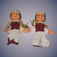 Old  Doll Twins Doll Puppets Character Unusual