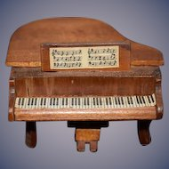 Vintage Doll Wood Faux Miniature Baby Grand Piano Dollhouse
