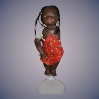 Antique Black Bisque Doll Island Girl