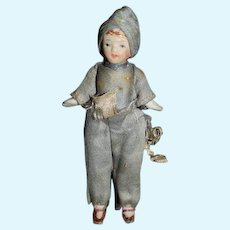 Antique Doll Miniature All Bisque Jointed Dollhouse Doll Factory Clothes