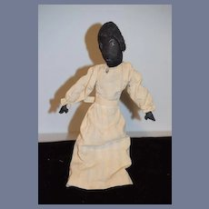 Old Black Cloth Doll Unusual Molded and Stitched Features