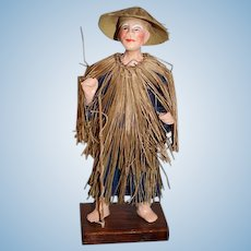 Old Doll Unusual Fisher Man Oriental In Original Box Wonderful Costume Papier Mache