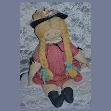 """Old LARGE Cloth Doll Character Unusual 26 1/2""""  Tall Old Cloth Body Fab"""