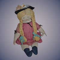 "Old LARGE Cloth Doll Character Unusual 26 1/2""  Tall Old Cloth Body Fab"