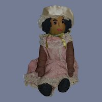 Old Black Stockinette and Cloth Doll Sweet