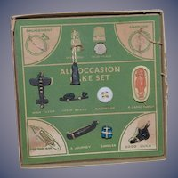 Old Doll Miniature Toys All Occasion Cake Set in Original Box