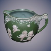 Old Rose O'Neill Kewpie Signed Jasperware Green Pitcher Sweet Jasper Ware