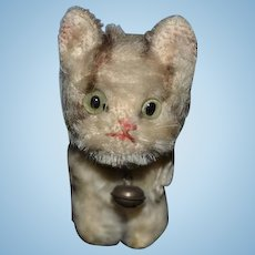 Old Mohair Miniature Cat For Doll W/ Bell