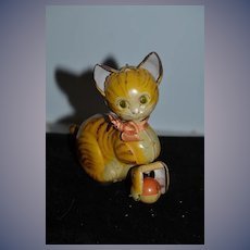 Old Tin Wind Up Mechanical Cat W/ Ball WORKS!! E.T Co