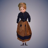 Antique French Wax Over Papier Mache  Doll Glass Eyes Wood Limbs FAB Antique Clothing