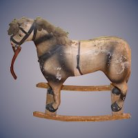 Antique Doll Papier Mache Horse Rocker Paper Mache Petite Size  For Doll Toy Rocking