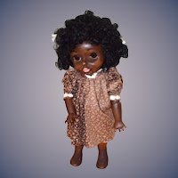 Wonderful Fred Thompson Black Carved Wood Glass Eye Jointed Doll Artist