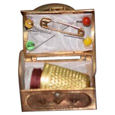 Old Miniature Doll Treasure Trunk Sewing Kit for Chatelaine Dollhouse