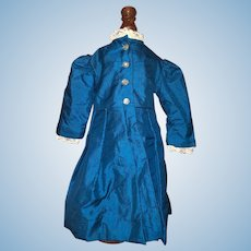 Old Hand Made Doll Coat Dress Wonderful Lace Trim Pleats Gorgeous Color