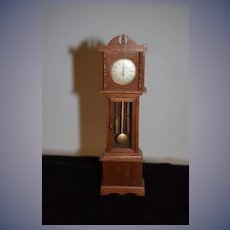 Old Doll Miniature Grandfather Clock Wood Glass Front Dollhouse