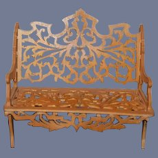 Old Carved ornate Wood Sofa Miniature Dollhouse for Doll