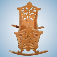 Old Ornate Wood Miniature Doll Rocking Bed Cradle Dollhouse