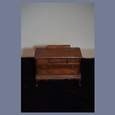 Old Doll Miniature Solid Walnut Chest Dollhouse Solid