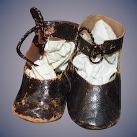 Antique Doll Leather C&M Doll Shoes Sweet Lace up French Marked