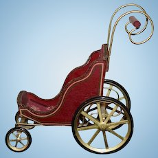 Vintage Doll Wood Miniature Pram Buggy Carriage Sweet Dollhouse