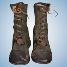 WONDERFUL Old Doll Child's Boots Lace Up Most Unusual