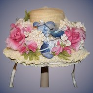 Wonderful Doll Straw Bonnet Hat Fancy Puckered Inside Wide Brim Specially hand made By Ruth Eagles