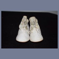 Old Doll Leather Button Up Shoes With Little Sash