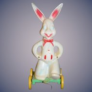 Vintage Easter Bunny Rabbit Pull Toy Doll Toy