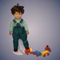"Artist Doll ""Tommy"" By Bob Beckett Originals Wood Carved W/ Toy Train"