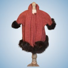 Old Doll Hand Made Fur Trimmed Coat W/ Scarf