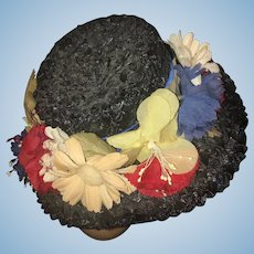 Vintage Doll Hat Straw Satin & Flowers Doll Creations by Lillian Hope Bonnet