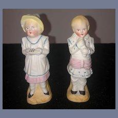 Antique Miniature All Bisque Figurine Children Piano Baby Dollhouse