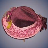 Vintage Doll Artist Janice Custom Milliner Doll Hat Lace Flowers Feathers