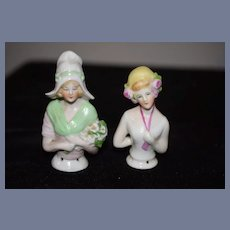 Old German Doll Half Doll Set Sweet China Head