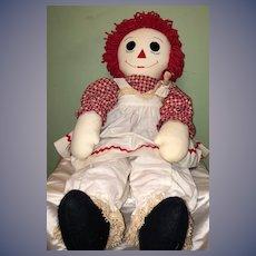 "Huge Raggedy Ann Cloth Doll W/ Miniature Raggedy Ann Doll 33 1/2"" Tall Wonderful"