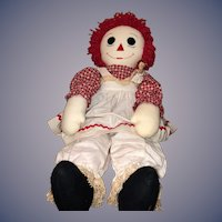 "Huge Raggedy Ann Cloth Doll W/ Miniature Raggedy Ann Doll 33 1/2"" Tall Wonderful"