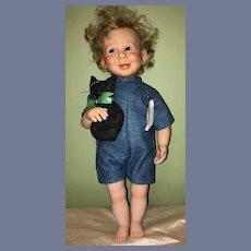 Vintage Artist Doll Sue Miller Character REUBEN Porcelain Glass Eyes 1980