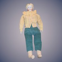 "Antique Doll China Head Center Part 26"" Tall Big Boy"