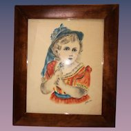 Wonderful Victorian Girl Painting on Cloth Signed Framed