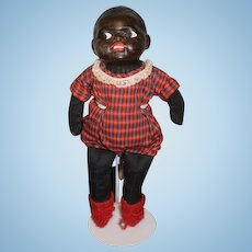 Old Black Doll Papier Mache and Cloth Adorable Face