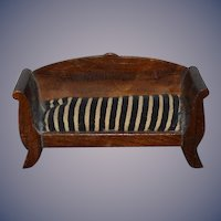 Antique Doll Wood Sofa Cushion Seat Miniature Dollhouse Walnut: