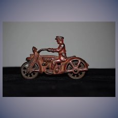 Old Miniature Cast Iron Hubley Cop Motorcycle W/ Side Car