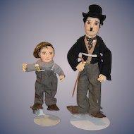 Vintage Artist Doll Charlie Chaplin and Friend Gwen Flather Original Cloth Dolls and THE KID Jackie Coogan