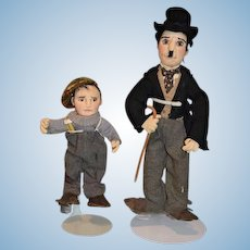 Vintage Artist Doll Charlie Chaplin and Friend Gwen Flather Original Cloth Dolls and THE KID Jackie Coogan