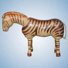 Antique Doll Schoenhut Wood Carved Jointed Zebra