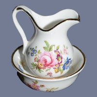 Vintage Doll Miniature Porcelain Pitcher & Bowl Hammersley Dollhouse Wash Stand