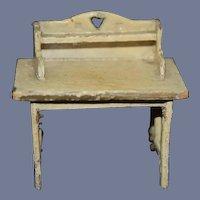 Old Doll Miniature Wood Desk Table Dollhouse Folk Art