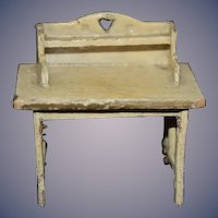 Old Doll Miniature Wood Desk Table Dollhouse Folk Art
