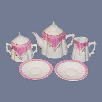 Old Doll Child's Teaset Porcelain Tea Set Pink and White