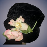 Vintage Doll Hat Bonnet Velvet W/ Flowers Sweet